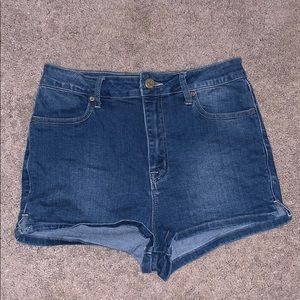 High Waisted Stretch Jean Shorts